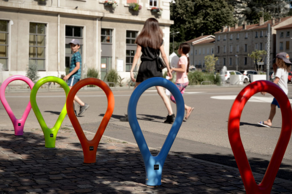 Loclock urban bike rack, manufactured by Durbanis. Urban area project in Rive-de-Gier, France