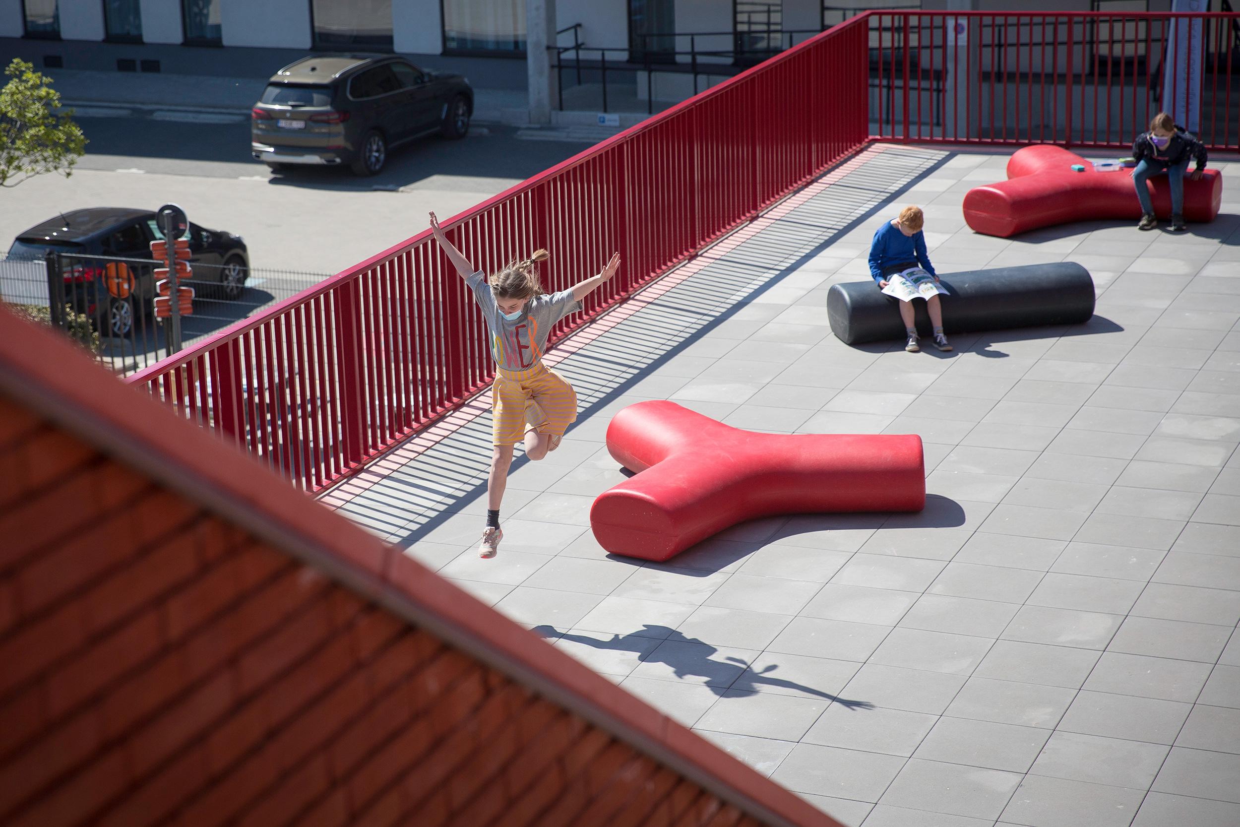 Children having fun with their new Durbanis furniture at the Belgian town of Ruisbroek.